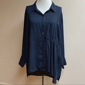 Rachel Roy Navy/White Stripe Tunic Blouse